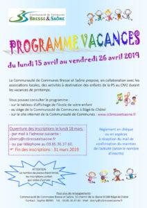 Affiche Programme Vacances Printemps 2019