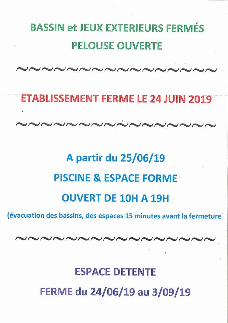Affiche infos diverses piscine archipel à partir du 24 juin