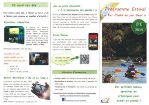 (recto) Programme estival des activités proposées par la Maison de l'Eau