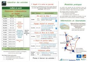 (verso) programme estival des activités proposées par la Maison de l'Eau